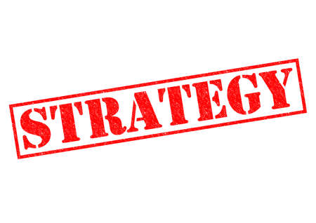 STRATEGY red Rubber Stamp over a white background. photo