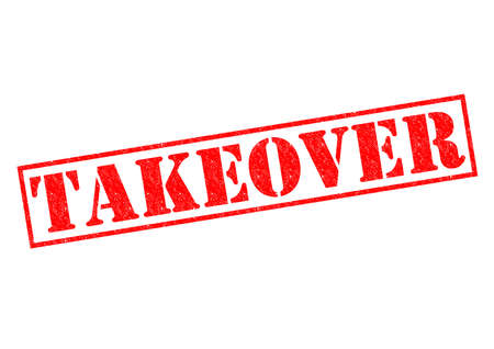 takeover: TAKEOVER red Rubber Stamp over a white background. Stock Photo