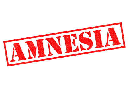 memory loss: AMNESIA red Rubber Stamp over a white background.