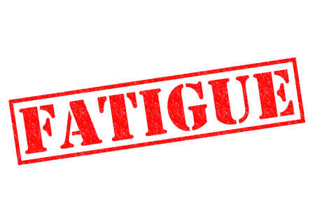 FATIGUE red Rubber Stamp over a white background.