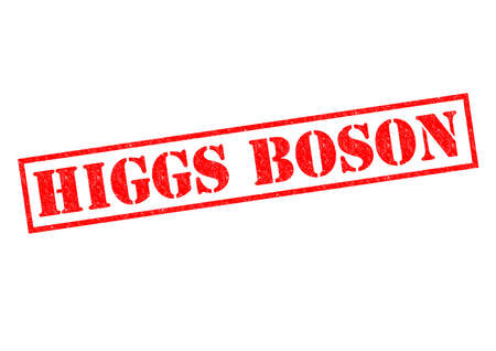 HIGGS BOSON red Rubber Stamp over a white background.