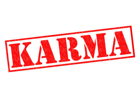 good karma: KARMA red Rubber Stamp over a white background.