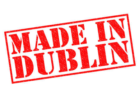 irish cities: MADE IN DUBLIN red Rubber Stamp over a white background.