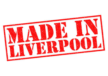 MADE IN LIVERPOOL red Rubber Stamp over a white background. photo