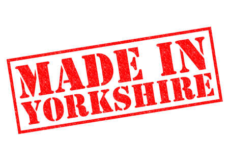 MADE IN YORKSHIRE red Rubber Stamp over a white background. photo