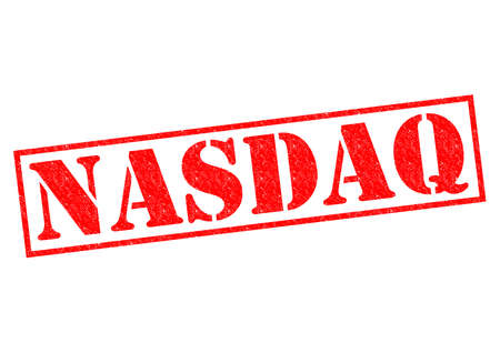 nasdaq: NASDAQ red Rubber Stamp over a white background.