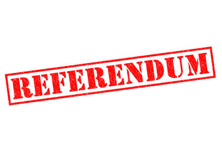 mandate: REFERENDUM red Rubber Stamp over a white background.