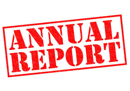 year financial statements: ANNUAL REPORT red Rubber Stamp over a white background.