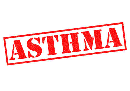 asthma: ASTHMA red Rubber Stamp over a white background.