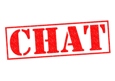 chat room: CHAT red Rubber Stamp over a white background. Stock Photo