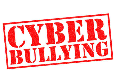 harass: CYBER BULLYING red Rubber Stamp over a white background.