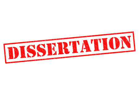 dissertation: DISSERTATION red Rubber Stamp over a white background.