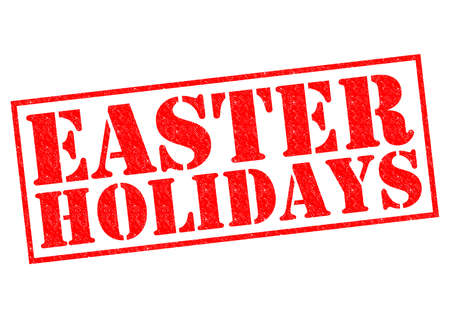breaks: EASTER HOLIDAYS red Rubber Stamp over a white background. Stock Photo