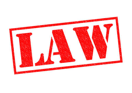 LAW red Rubber Stamp over a white background. Фото со стока