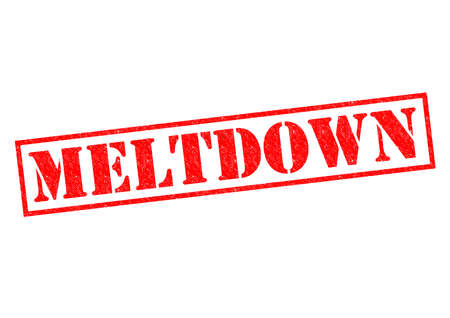 credit crunch: MELTDOWN red Rubber Stamp over a white background.