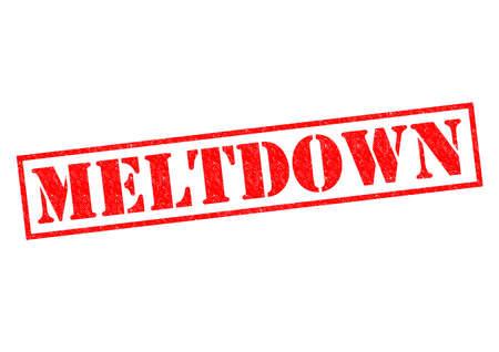 meltdown: MELTDOWN red Rubber Stamp over a white background.
