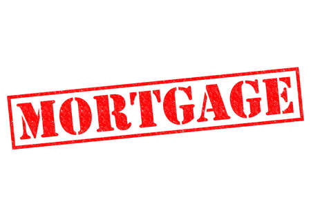 pledge: MORTGAGE red Rubber Stamp over a white background. Stock Photo