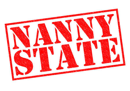 nanny: NANNY STATE red Rubber Stamp over a white background.