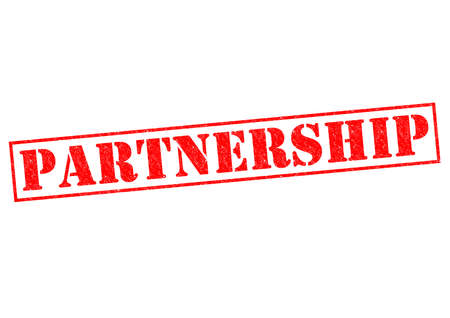teaming up: PARTNERSHIP red Rubber Stamp over a white background. Stock Photo