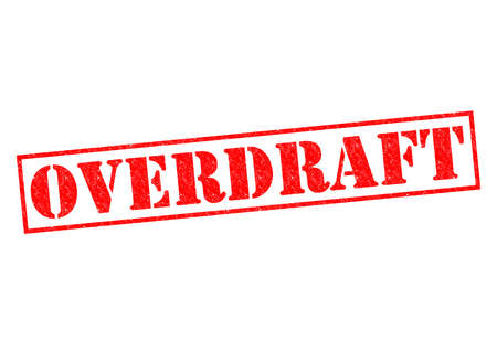 overdraft: OVERDRAFT red Rubber Stamp over a white background. Stock Photo
