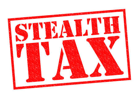 levy: STEALTH TAX red Rubber Stamp over a white background.