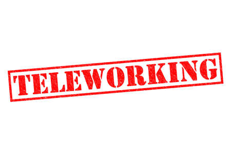 teleworking: TELEWORKING red Rubber Stamp over a white background.