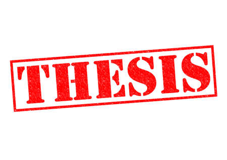 thesis: THESIS red Rubber Stamp over a white background.