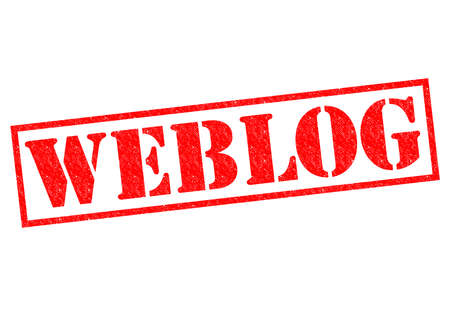 WEBLOG red Rubber Stamp over a white background.