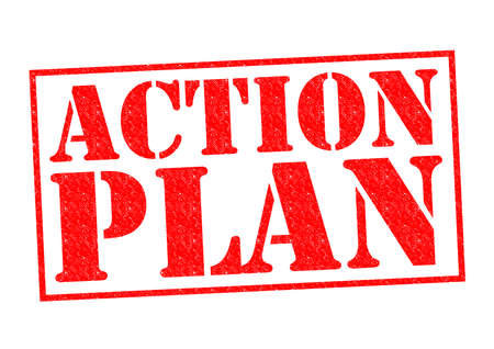 ACTION PLAN red Rubber Stamp over a white background. Stock Photo