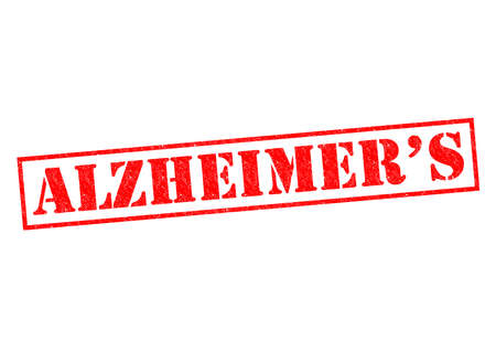 alzheimers: ALZHEIMERS red Rubber Stamp over a white background. Stock Photo