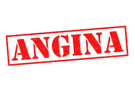 angina: ANGINA red Rubber Stamp over a white background.