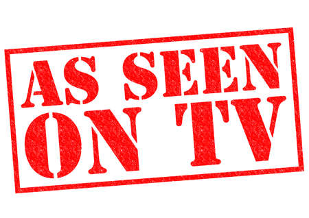 tele: AS SEEN ON TV red Rubber Stamp over a white background.