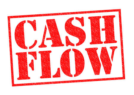 owe: CASH FLOW red Rubber Stamp over a white background. Stock Photo