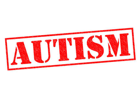 asperger: AUTISM red Rubber Stamp over a white background.
