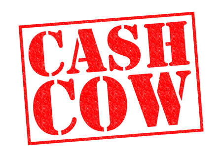 cash cow: CASH COW red Rubber Stamp over a white background.