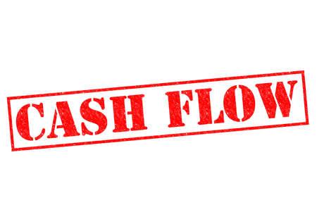 flujo de dinero: Goma roja FLUJO DE EFECTIVO sello sobre un fondo blanco. Foto de archivo