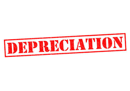 depreciation: DEPRECIATION red Rubber Stamp over a white background.