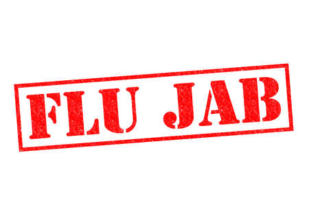 flu immunization: FLU JAB red Rubber Stamp over a white background.