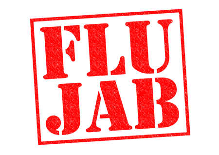 jab: FLU JAB red Rubber Stamp over a white background.