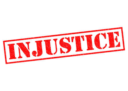 injustice: INJUSTICE red Rubber Stamp over a white background.