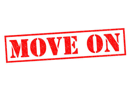 forwards: MOVE ON red Rubber Stamp over a white background.
