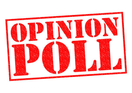 opinion poll: OPINION POLL red Rubber Stamp over a white background.