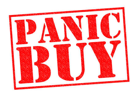 looting: PANIC BUY red Rubber Stamp over a white background.