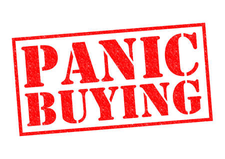 looting: PANIC BUYING red Rubber Stamp over a white background. Stock Photo