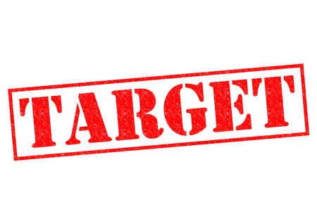 targetting: TARGET red Rubber Stamp over a white background.