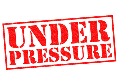 squeeze: UNDER PRESSURE red Rubber Stamp over a white background.