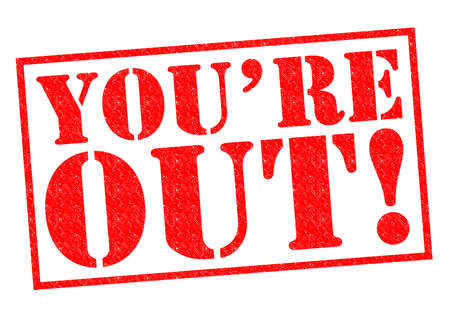 kicked out: YOURE OUT! red Rubber Stamp over a white background. Stock Photo