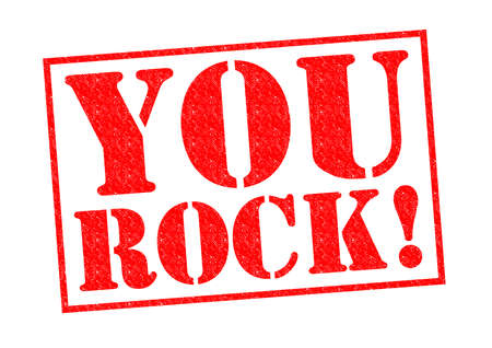 superstar: YOU ROCK! red Rubber Stamp over a white background. Stock Photo