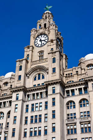 The historic Royal Liver Building in Liverpool, England  photo