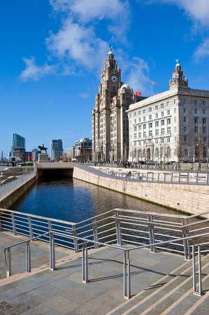 A view on the Liverpool Pier Head   The view takes in two of the Three Graces  The Royal Liver Building and the Cunard Building  photo